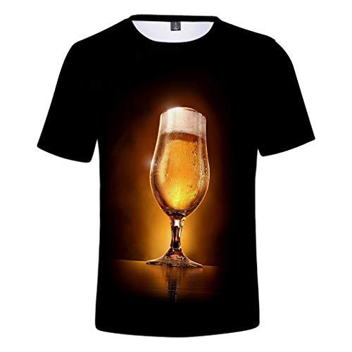 ZHANSANFM Herren Rundhals Trachten T-Shirt 3D Drucken Wiesn Shirt mit Bier Spaß Motiv Kurzarm Tops Oktoberfest Modern karnevalskostüme Deutsches Bierfest Kostüm Regular Fit (M, Khaki) (Übergröße Einheitliche Kostüm)
