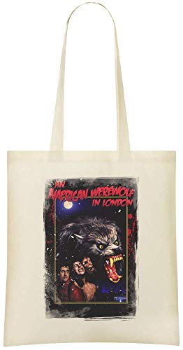 Un loup-garou américain à Londres Transformation - An American Werewolf In London Transformation Custom Printed Grocery Tote Bag - 100% Soft Cotton - Eco-Friendly & Stylish Handbag For Everyday Use -