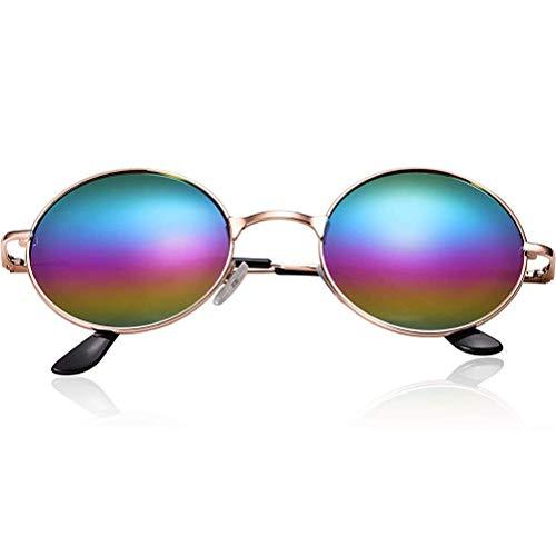Schimer Hippie-Sonnenbrille, Retro Vintage Sonnenbrille, inspiriert von John Lennon, polarisiert mit rundem Metallrahmen für Frauen und Männer