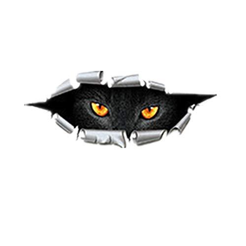 Csheng Adesivi Auto, Adesivo per Auto Motociclo Serbatoio Computer Divertente Vinile Vista Posteriore Riflettente Casco Moto Impermeabile Unico Adesivo 3D Simulazione Occhi di Gatto Pigolio