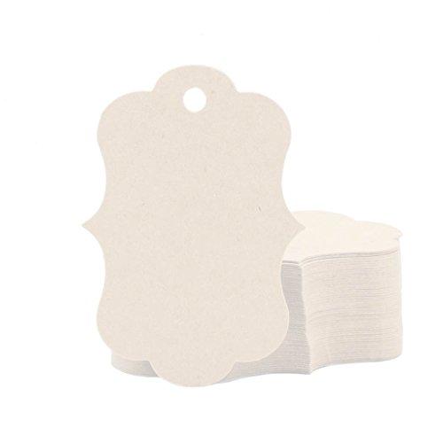 �ck Weiß Fancy Rand Geschenkanhänger 50mmx70mm Kraftpapier Anhänger Hängeetiketten Anhängeetiketten - Hochzeit Baby Party Weihnachten DIY Karten Preis Etiketten Papieretiketten (Weihnachts-etiketten)