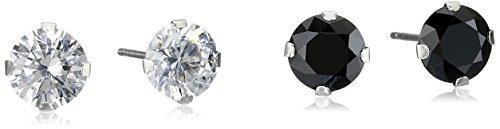 10k-white-gold-swarovski-zirconia-white-and-black-stud-earring-set