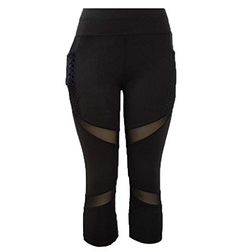 Sport Hosen Sexy Atmungsaktiv Mesh Freizeithosen Frauen Hohe Taille Laufenhose mit Tasche Traininghose Jogginghose Sweathose ()