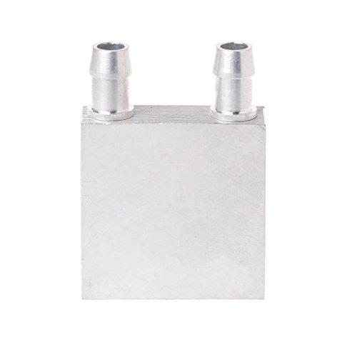 Yunso Wasserkühlung Block 40 * 40mm Aluminium für Flüssigkeit Wasserkühler Kühlkörper System Silber für CPU Grafiken Kühler Kühlkörper