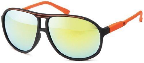 Sense42 Retro Sonnenbrille Two Tone Schwarz Orange verspiegelt, flexiblen Federscharnier Bügeln, Nerdbrille Damen Herren Unisex mit Brillenbeutel (Wayfarer Two Tone Sonnenbrille)