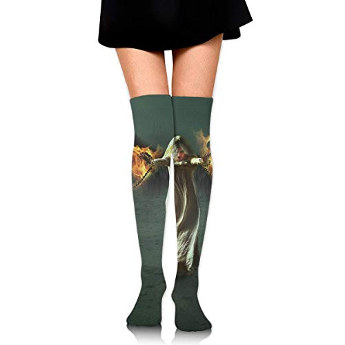 HRTSHRTE Fantasy Halloween Fallen Angel Girl Bounded by Chains Ankle Stockings Over The Knee Sexy Womens Sports Athletic Soccer Socks