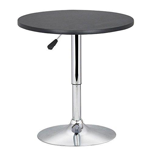 Biezutu Verstellbare Höhe Runde Bristo Bar Pub Table 360 Swivel MDF Top 70-90 cm High Table Black - Runde Pub Höhe Tisch