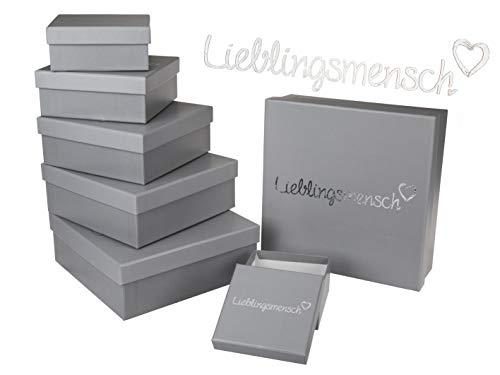 MC Trend 8er Set Lieblingsmensch Geschenkkartonage Boxen Aufbewahrungsboxen Kartonage grau Silber Schriftzug (Geschenkkartonage grau)