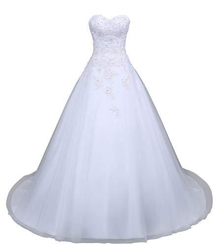 Romantic-Fashion Brautkleid Hochzeitskleid Weiß Modell W049 A-Linie Satin Perlen Pailletten...