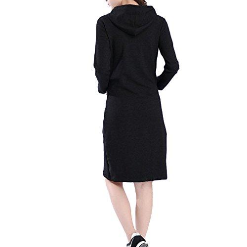 Honghu Damen Schlank mit Kapuzenpullover Kleider Schwarz