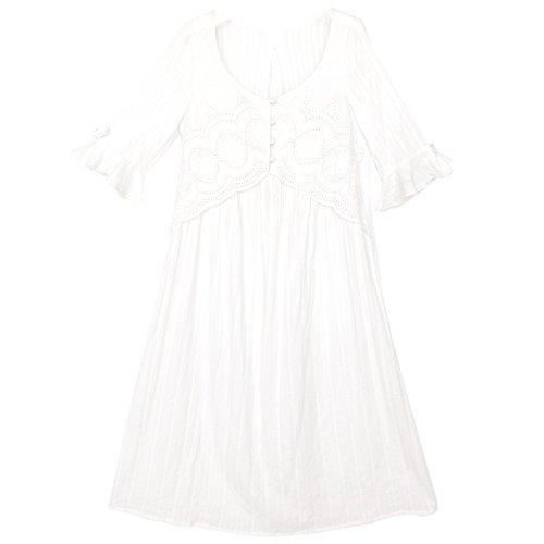 JINSHENG Pyjama Zwei Frauen Sommer Baumwolle Kurze ärmel und Lange vor Gericht Wind lose die hälfte der ärmel dünn lang und Sweet Home Kleidung,160 (m),weiße