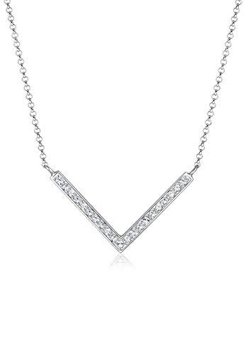 Elli Halskette V-Kette Swarovski® Kristalle 925 Silber