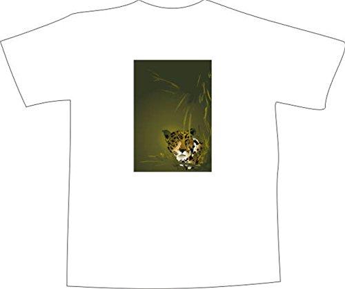 T-Shirt F1130 Schönes T-Shirt mit farbigem Brustaufdruck - Tiger Stalking Opfer Weiß
