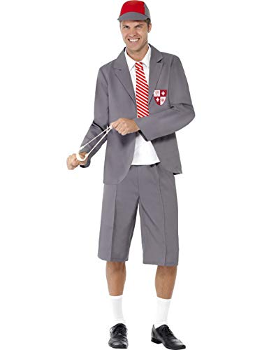 Schuljungen Halloween Kostüm - Luxuspiraten - Herren Männer Schuljungen Uniform Kostüm mit Jacket, Hemdfront mit Schlips, Shorts und Kappe, perfekt für Karneval, Fasching und Fastnacht, M, Grau