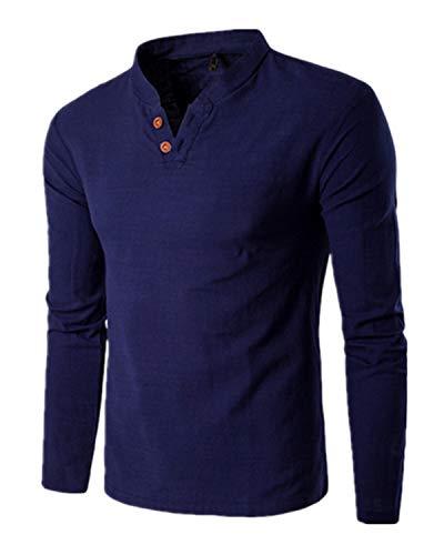 MODCHOK Uomo Maglie Manica Lunga Henley T Shirt Polo Canotte Colore Solido Casual Marina Militare XL
