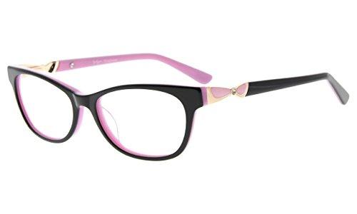 Eyekepper Rx-fähige Acetat Brillen für kleine Gesicht Frauen,Damen Brillengestell, Schwarz Rosa
