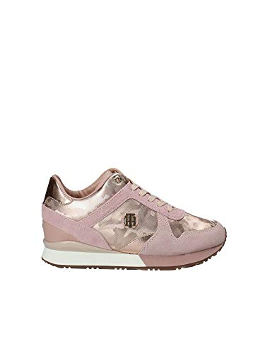 f4d025678 Tommy Hilfiger Women's Camo Metallic Suede Lace Up Trainer Rose Gold-Gold-6  Size