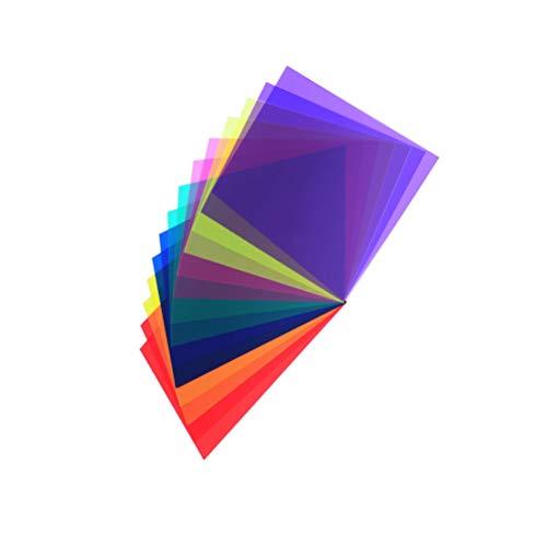 Xhuan 14 Stück Korrekturfilter aus Gel für Farbkorrektur, Transparent, Gelatin-Filter aus Kunststoff, 7