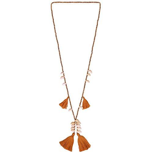 KELITCH Holz Perlen Halskette Quaste Schichtung Anhänger Muschel Charm Halskette Neu Schmuck (orange F)