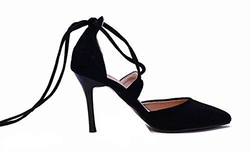 Ye Femmes Dentelle orteils Talons hauts Daim Cuir Nubuck Fashion Rouge Semelle Stilettos à talons Chaussures Rouge - Noir