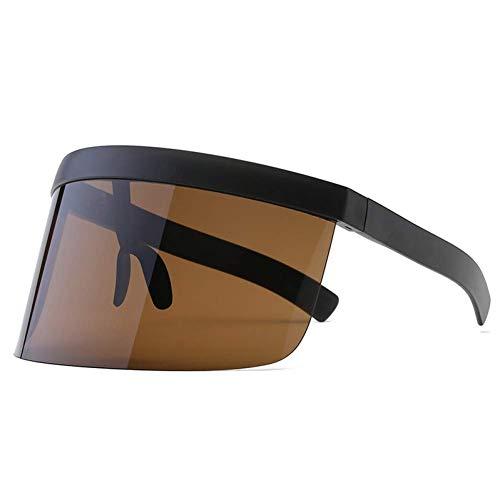 YHEGV Sexy Einzigartige Übergroße Sonnenbrille Frauen Männer Vintage Halbrandlose Einteilige Linse Sonnenbrille Big Shield Brille Uv400