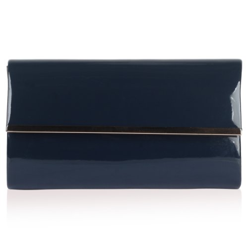 Pochette Da Donna Rigida Custodia Catena Tracolla Sera Metal Trim Party Bag Navy Blue