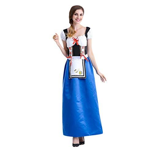 Efanhony Mode German Wear Damen Cosplay Kleid Oktoberfest DienstmäDchen KostüM KostüM Kleid Kleid + 1 (Mod Mädchen Für Erwachsene Kostüm)