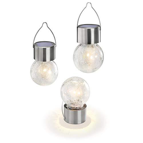 3 Licht Crackle (Solar Hängeleuchten Crackle Ball im 3er Set - angenehm warmweißes Licht mit 3000K - Glasmosaik für traumhafte Lichteffekte - (DxH): 6,0 x 13,5 cm - Metallbügel zur sicheren Befestigung esotec 102309)
