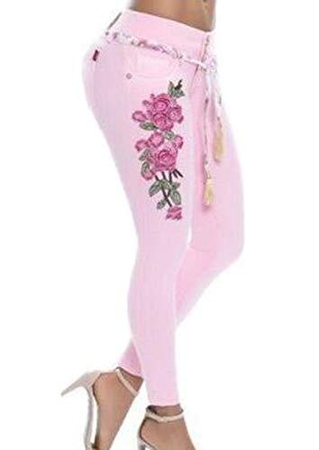Babao Damen Blume Gestickt Skinny Jeans Bleistifthose Denim Jeans -