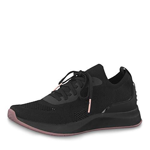 Tamaris Damen Schnürhalbschuhe 23705-23, Frauen sportlicher Schnürer, sportlich modisch freizeitschuh Damen Frauen weibliche,Black,38 EU / 5 UK