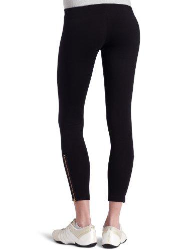 LNA Damen Skinny Hose Zipper Leggings Schwarz