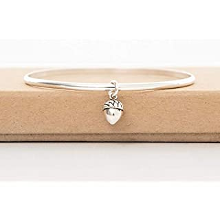 Sterling silver acorn autumn bangle 925