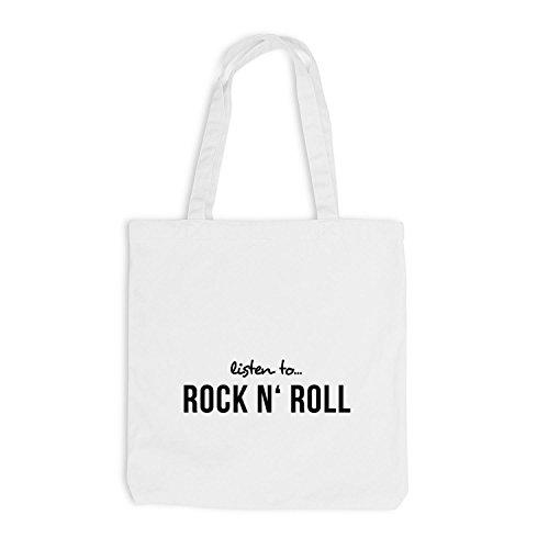 Jutebeutel - Listen To Rock N' Rock - Music Fan Musik Weiß