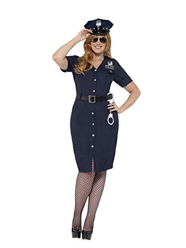 (Smiffys 24451X3 - Damen NYC Polizistin Kostüm, Größe: 56-58, blau)