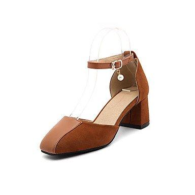Zormey Damen Sandalen Sommer Herbst Comfort Ankle Strap Pu Fleece Büro & Amp; Karriere Dress Casual Ferse Imitation Pearl Schnalle Split Jointred US7.5 / EU38 / UK5.5 / CN38