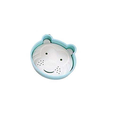 Bar Soap Tray Form (DDOQ Beste Cartoon Bär Form Doppelschicht Abfluss Soap Box Seifenschale Seifenhalter Container Soap Tray-Blau)