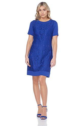 Roman Originals Damen Shift-Kleid mit Spitze in Blau - Royal Blue - Größe 46