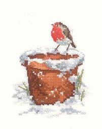 PATRIMOINE Crafts Sue Hill Oiseaux Robin Jardin ami compté point de croix kit de 27Evenweave