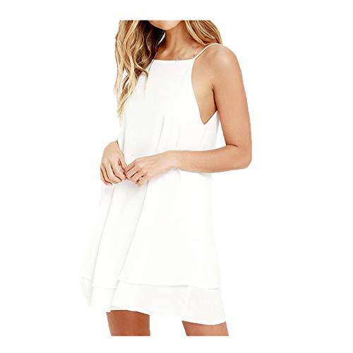 loses Harnes rückenfreies lockeres Kleid(X-Large,Weiß) ()