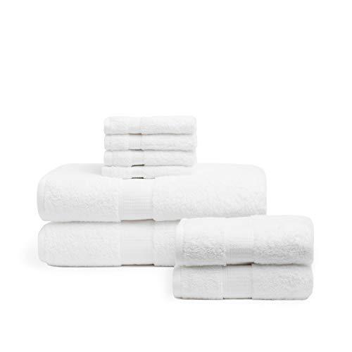 Pack de toallas de rizo de algodón egipcio de 600 gr/m2 en color blanco. Combínalas con nuestro albornoz Tabarca (B07LGWZ1GG)