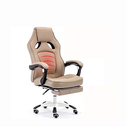 JM-office chair Brown Massage rotierenden Computer Sessellift Fußstütze Siesta Stuhl Armlehne PU Leder Business Meeting Esports Spiel Stuhl Bürostuhl - Office Massage Chair