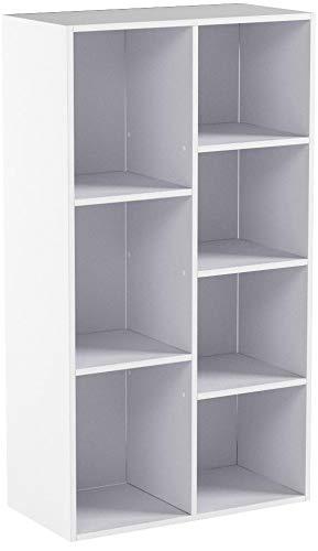 WOLTU Estantería para Libros Estantes de Piso Estantería de Exposición Estantería de Pared con MDF, Blanco, Estante para Oficina Gabinete para Archivos, 7 Compartimentos, 60x30x108cm SK004ws
