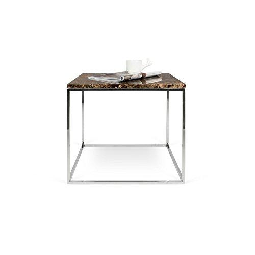 Paris Prix - Temahome - Table D'appoint Gleam 50cm Marbre Marron & Métal Chromé