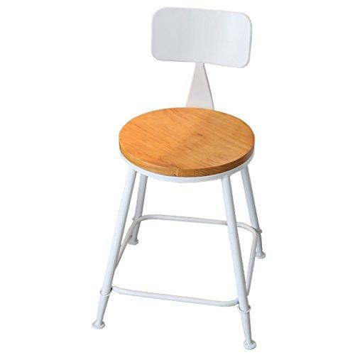 BZEI-Tabourets Tabouret haut vintage de chaise de dossier de barre en bois et de fer approprié à la famille dinant la chaise et le restaurant de bureau d'affaires, taille totale 73cm ( Couleur : Blanc )