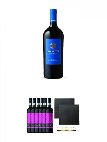 Amalaya Tinto (blaues Label) Wein Argentinien 1,5 Liter Magnumflasche + Scavi & Ray Al Cioccolata Rosso Prestigio 6 x 0,75 Liter + Schiefer Glasuntersetzer eckig ca. 9,5 cm Ø 2 Stück