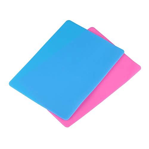 SUPVOX 2 piezas de lámina de silicona para manualidades moldes de fundición de joyería, manteca de silicona de grado alimenticio BPA libre para lavavajillas estera de silicona segura (rosa/azul)