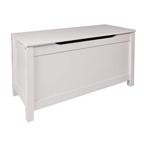 Woodluv MDF Wooden Ottoman Storage Toy Chest Bathroom/Bedding/Hallway, 80 x 33 x 42.5 cm, White