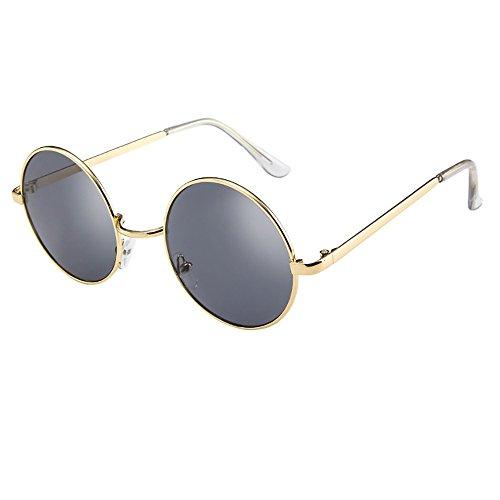 Skang Polarisierte Sonnenbrille Retro Steampunk Style Runde Metall Rahmen Sonnenbrille Sunglasses Eyewear Für Frauen Und Männer(Einheitsgröße,Grau)