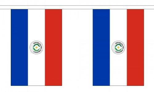 9m 30(22,9x 15,2cm) Flagge Paraguay paraguayischer 100% Polyester Material Wimpelkette ideal Party Dekoration für Street House Kneipen Vereine Schulen