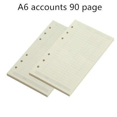 WanTo 2 stücke A5 A6LosesBlattNotebookRefill spiralbuchBinderPlanerInnenseite innen Papiermolkereiwöchentlich monatlich planLinie punktraster, A6 konten90 Seite (Notebook Konten)